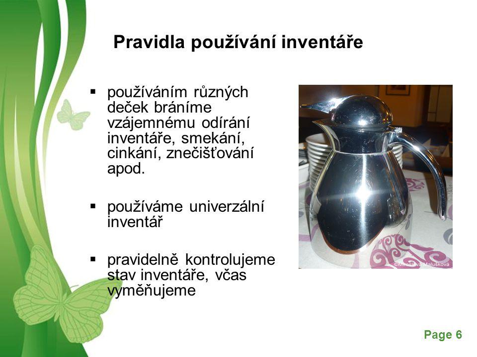 Pravidla používání inventáře