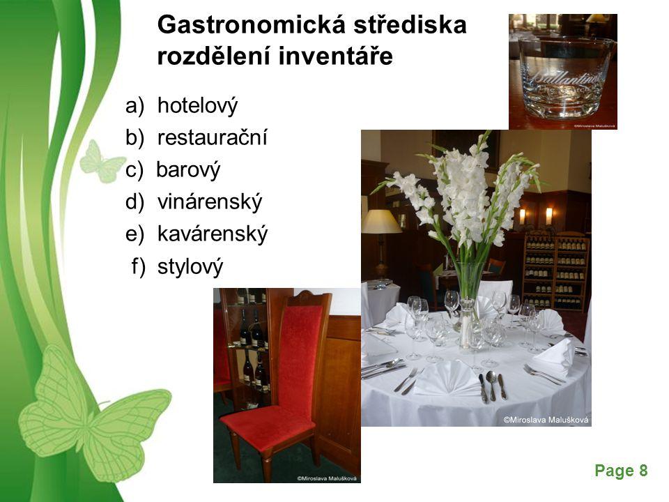Gastronomická střediska rozdělení inventáře