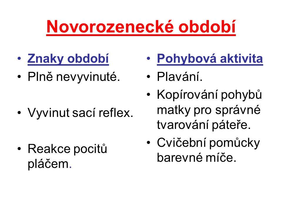 Novorozenecké období Znaky období Plně nevyvinuté.