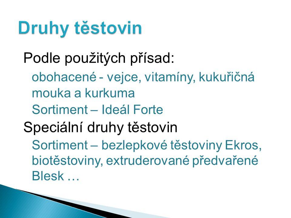Druhy těstovin Podle použitých přísad: