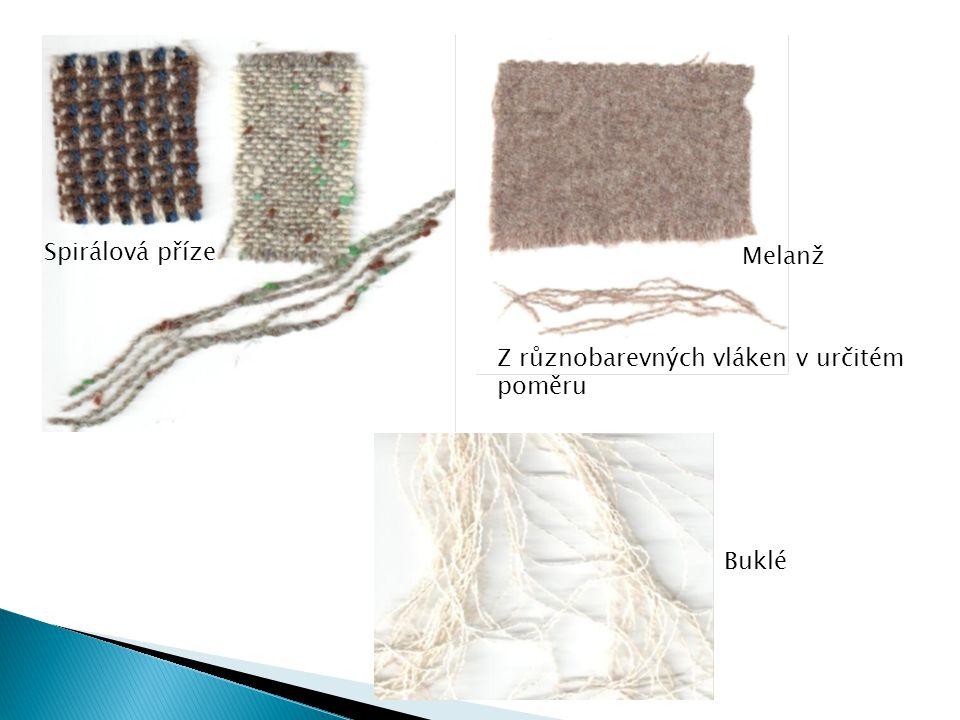 Spirálová příze Melanž Z různobarevných vláken v určitém poměru Buklé