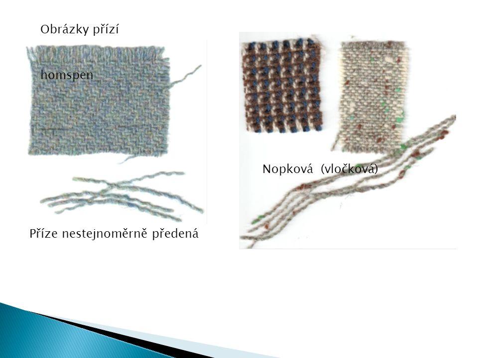 Obrázky přízí homspen Nopková (vločková) Příze nestejnoměrně předená