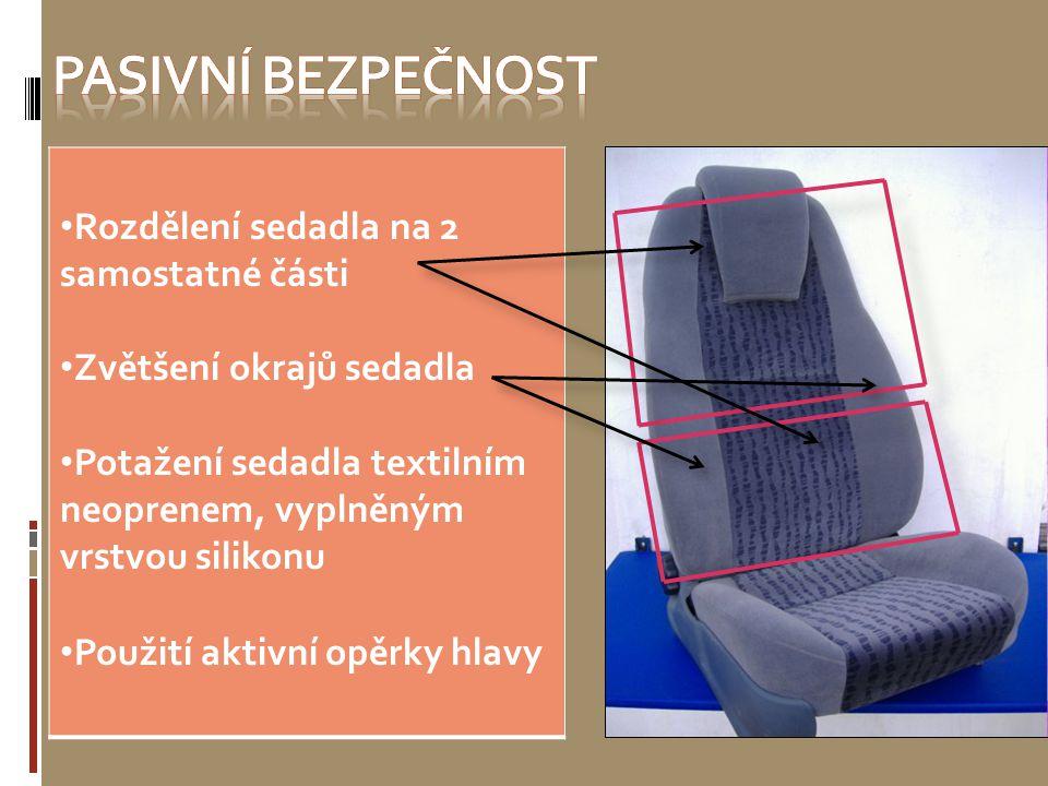 Pasivní bezpečnost Rozdělení sedadla na 2 samostatné části