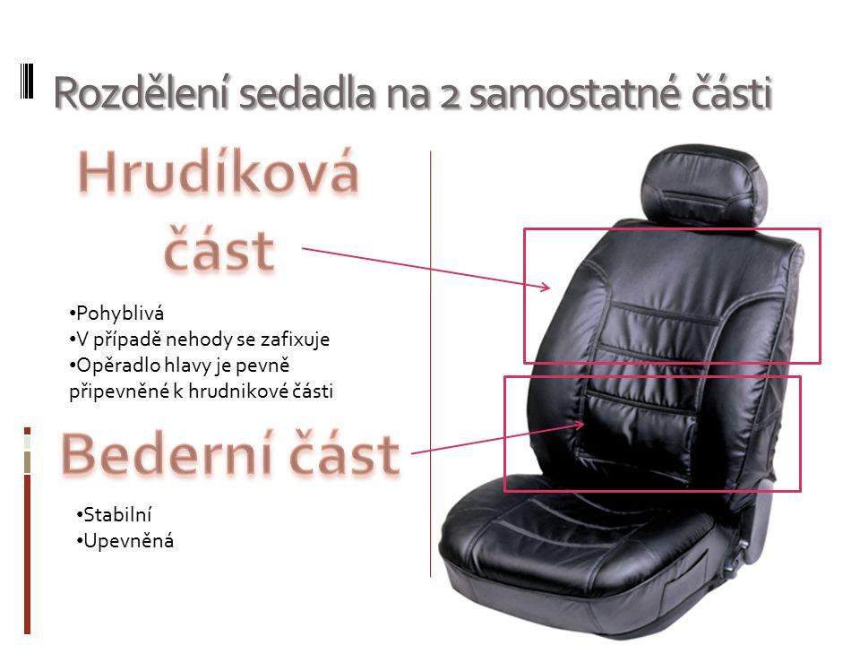 Rozdělení sedadla na 2 samostatné části