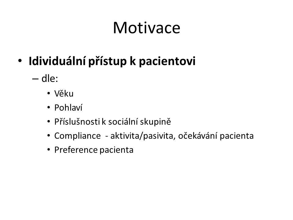 Motivace Idividuální přístup k pacientovi dle: Věku Pohlaví