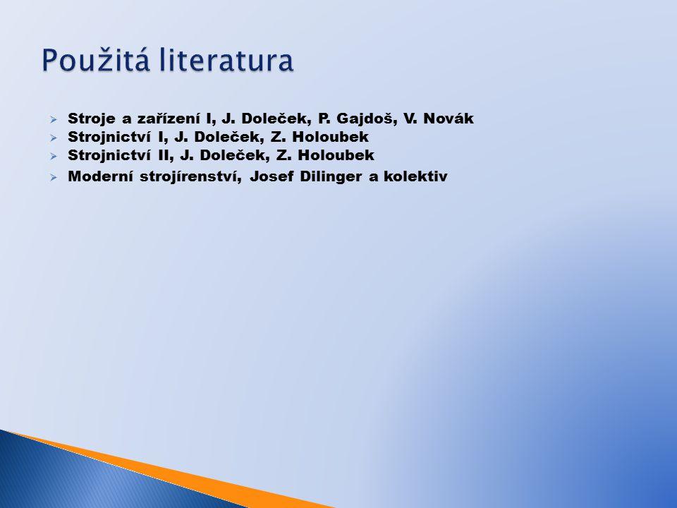 Použitá literatura Stroje a zařízení I, J. Doleček, P. Gajdoš, V. Novák. Strojnictví I, J. Doleček, Z. Holoubek.