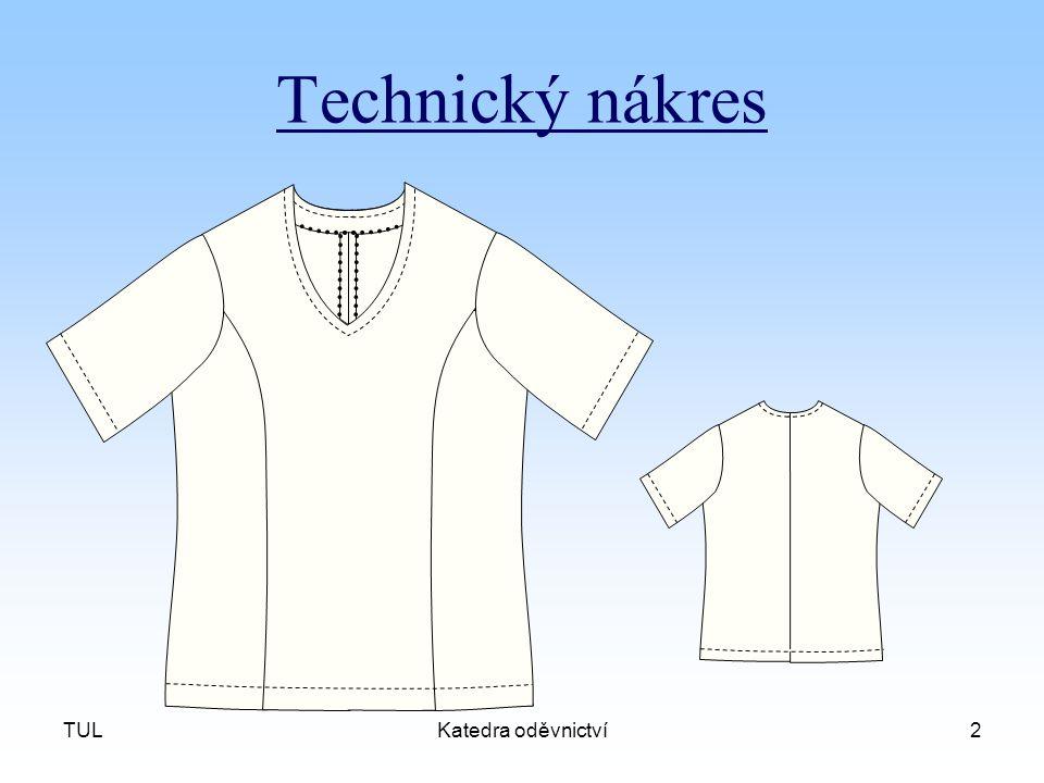 Technický nákres TUL Katedra oděvnictví