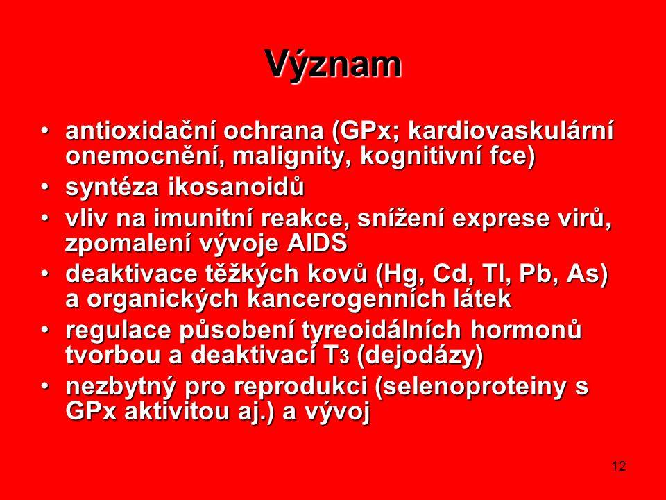 Význam antioxidační ochrana (GPx; kardiovaskulární onemocnění, malignity, kognitivní fce) syntéza ikosanoidů.