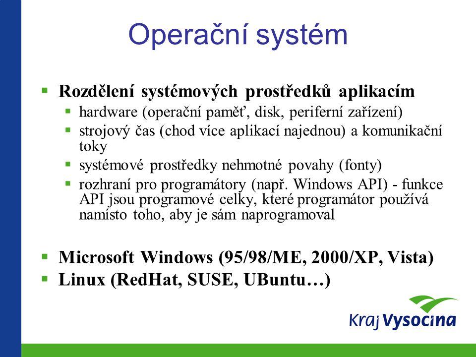 Operační systém Rozdělení systémových prostředků aplikacím