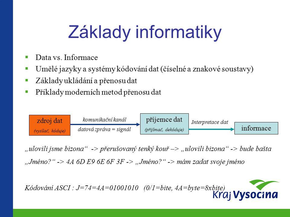 Základy informatiky Data vs. Informace