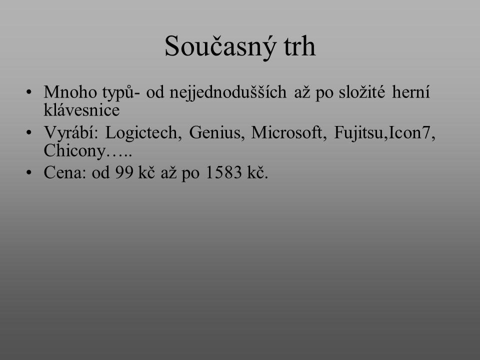 Současný trh Mnoho typů- od nejjednodušších až po složité herní klávesnice. Vyrábí: Logictech, Genius, Microsoft, Fujitsu,Icon7, Chicony…..