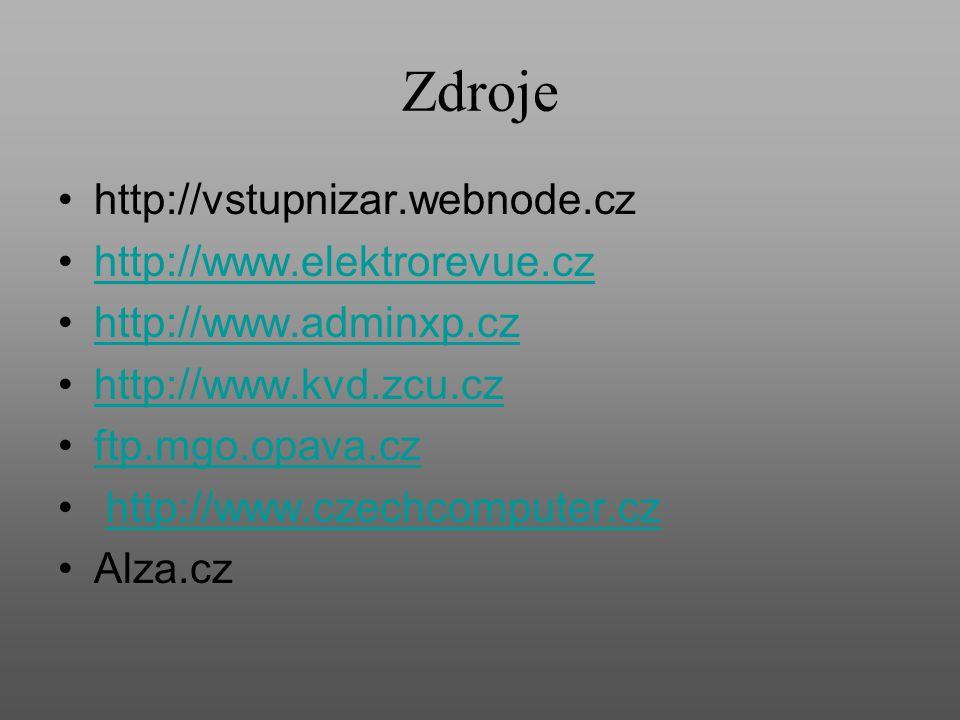Zdroje http://vstupnizar.webnode.cz http://www.elektrorevue.cz