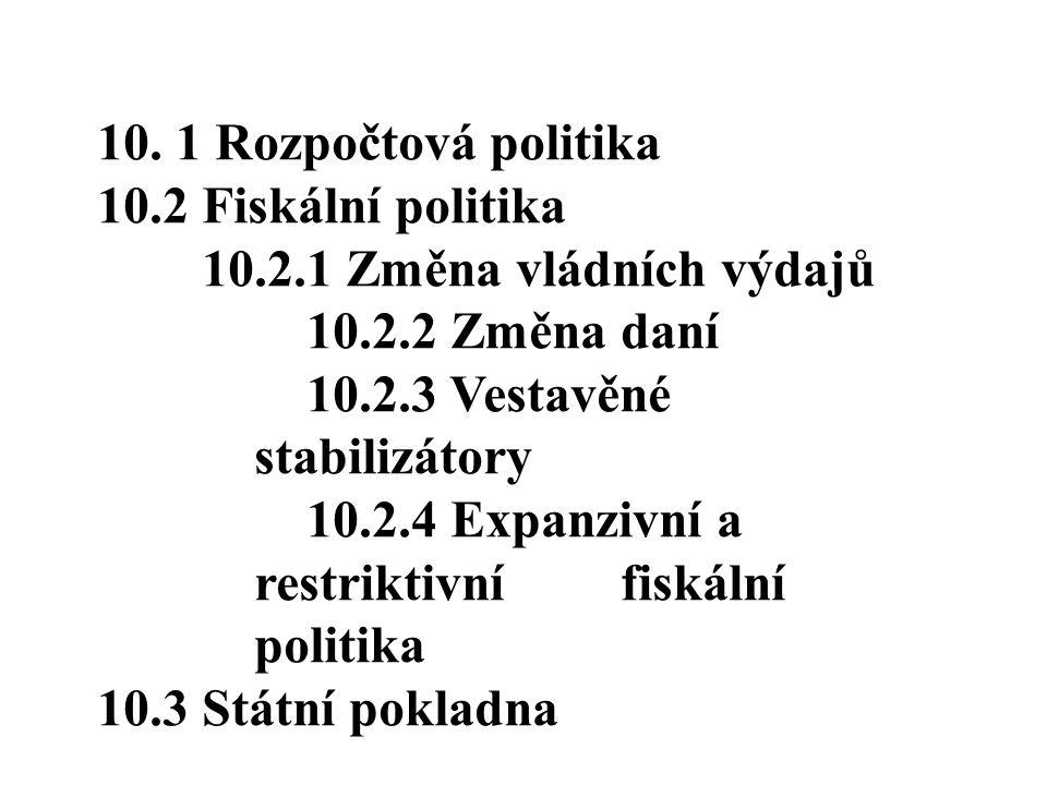10. 1 Rozpočtová politika 10.2 Fiskální politika. 10.2.1 Změna vládních výdajů. 10.2.2 Změna daní.