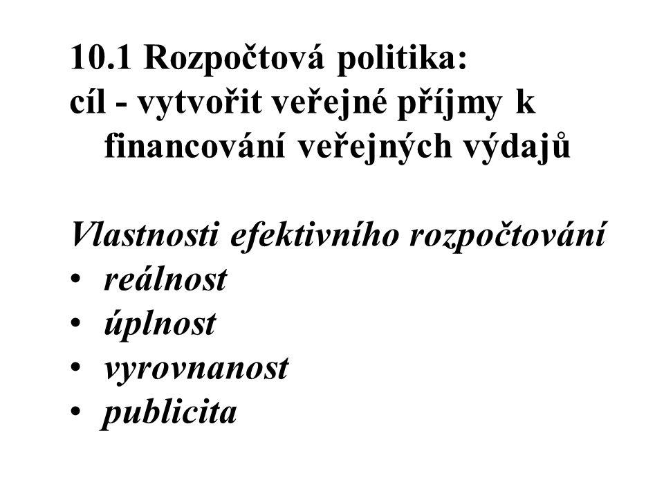 10.1 Rozpočtová politika: cíl - vytvořit veřejné příjmy k financování veřejných výdajů. Vlastnosti efektivního rozpočtování.