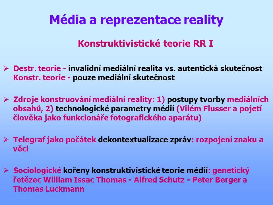 Média a reprezentace reality