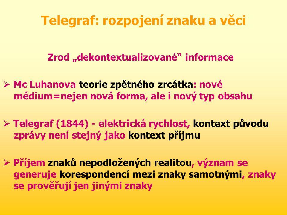 Telegraf: rozpojení znaku a věci