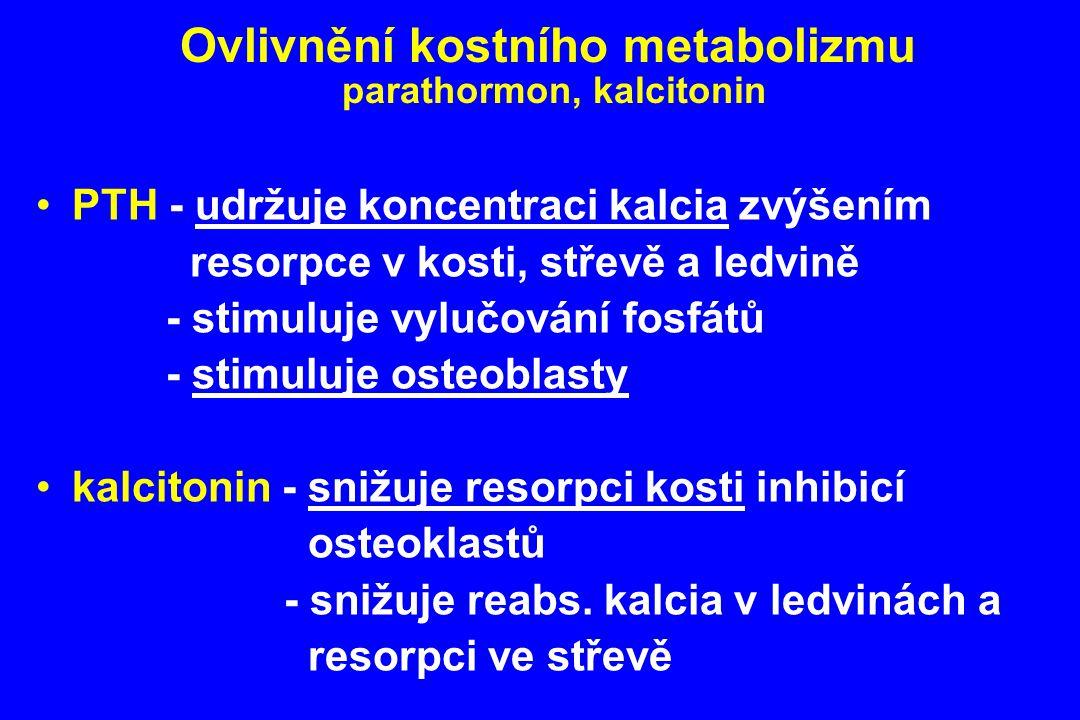 Ovlivnění kostního metabolizmu parathormon, kalcitonin