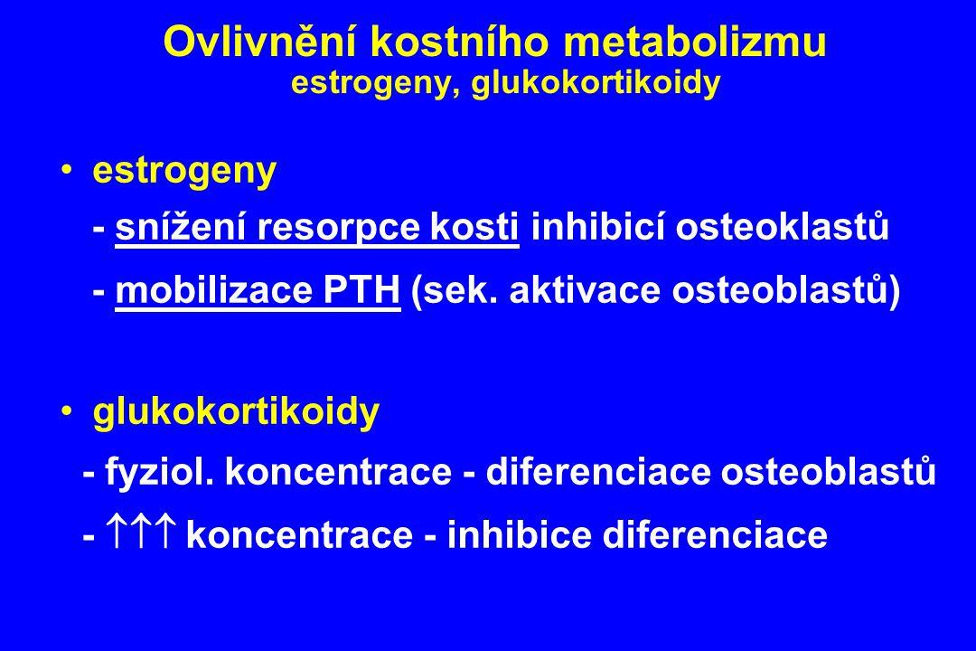 Ovlivnění kostního metabolizmu estrogeny, glukokortikoidy