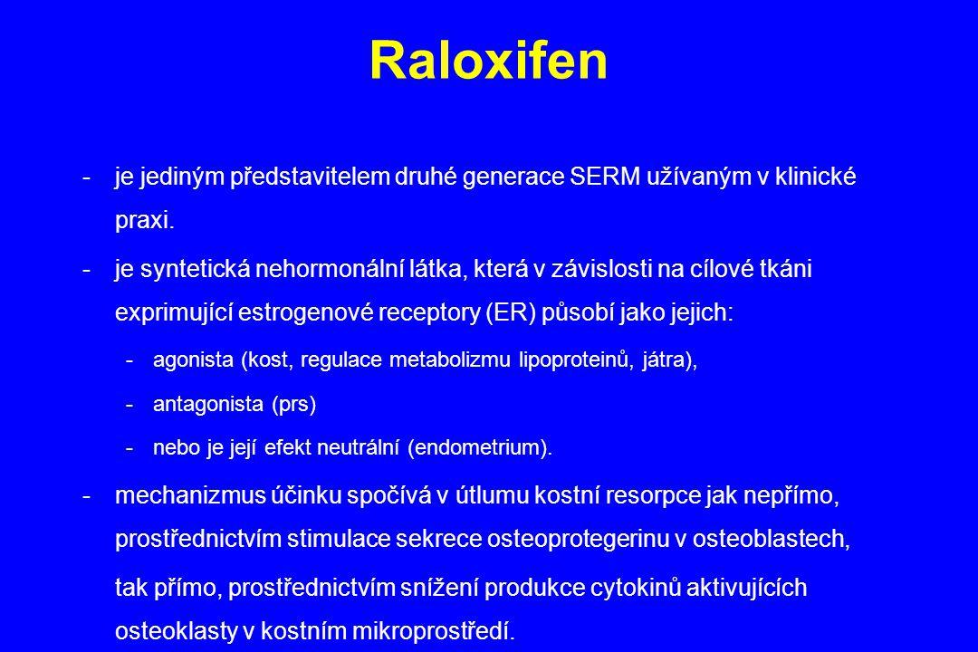 Raloxifen je jediným představitelem druhé generace SERM užívaným v klinické praxi.