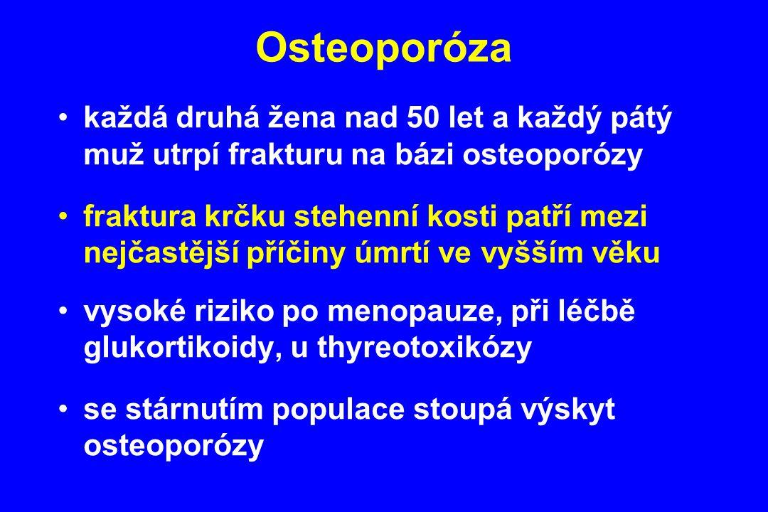 Osteoporóza každá druhá žena nad 50 let a každý pátý muž utrpí frakturu na bázi osteoporózy.