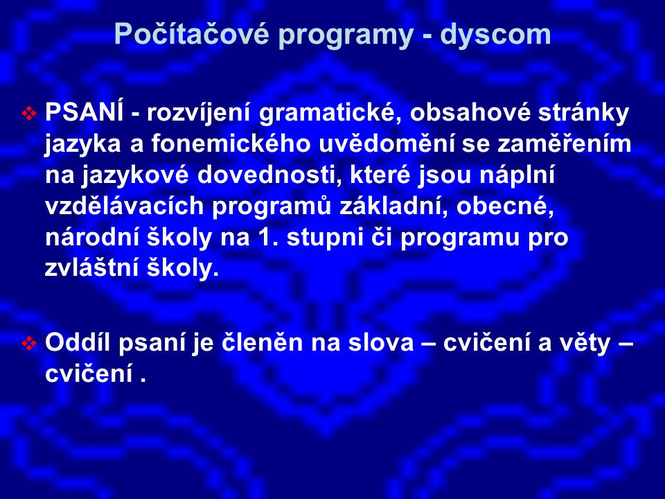 Počítačové programy - dyscom