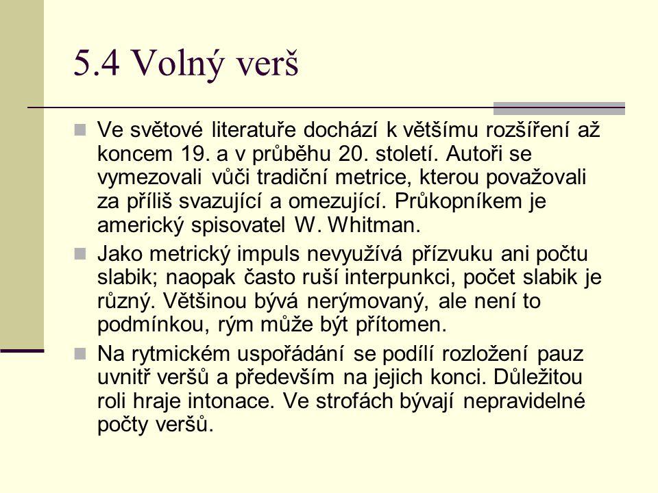 5.4 Volný verš