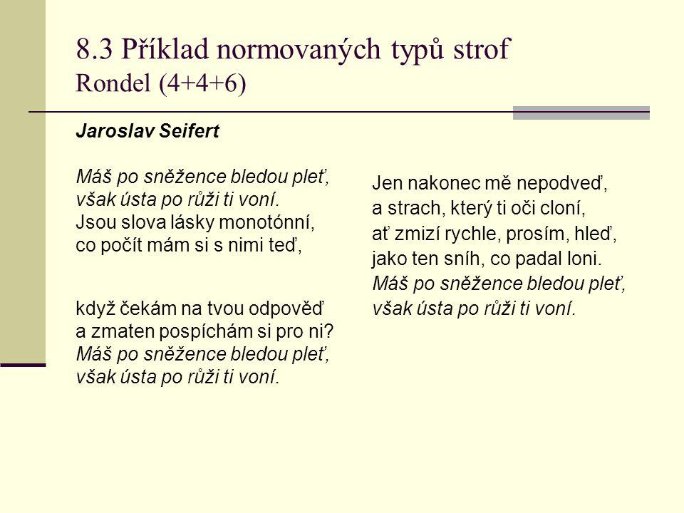 8.3 Příklad normovaných typů strof Rondel (4+4+6)