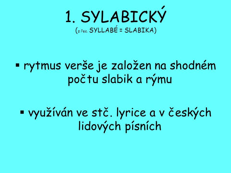 1. SYLABICKÝ (z řec. SYLLABÉ = SLABIKA)