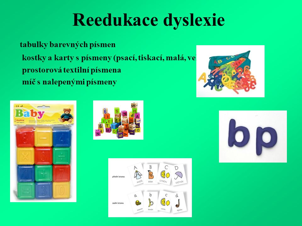 Reedukace dyslexie tabulky barevných písmen