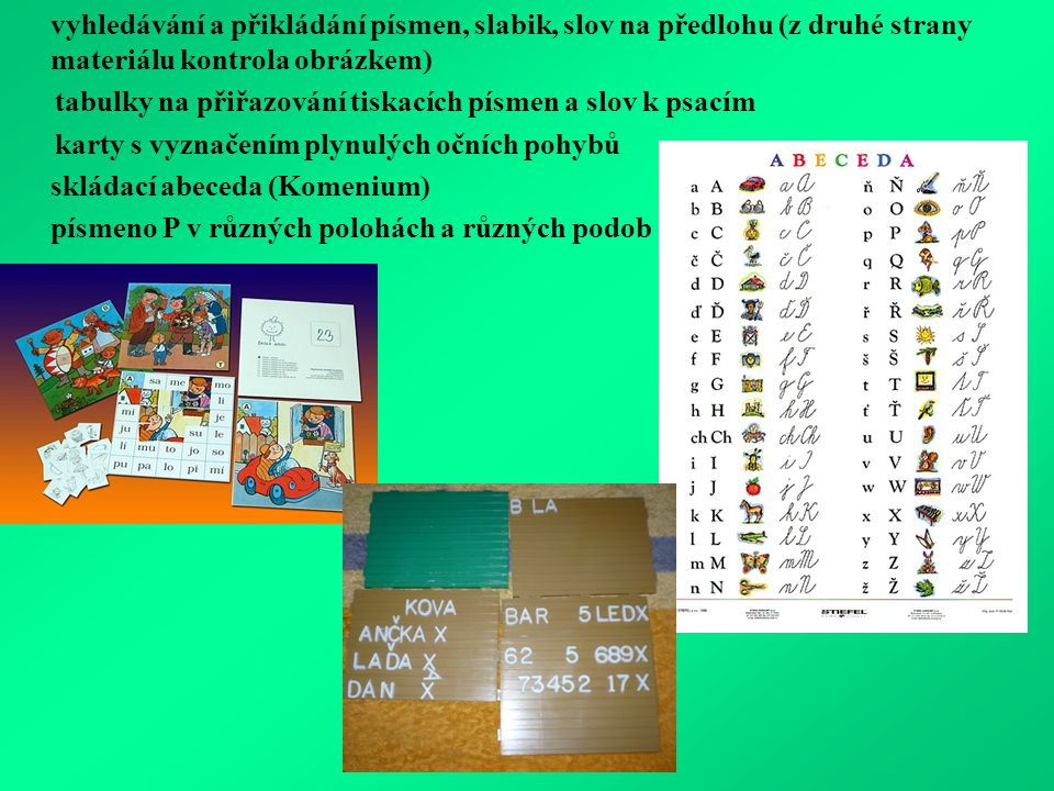 tabulky na přiřazování tiskacích písmen a slov k psacím