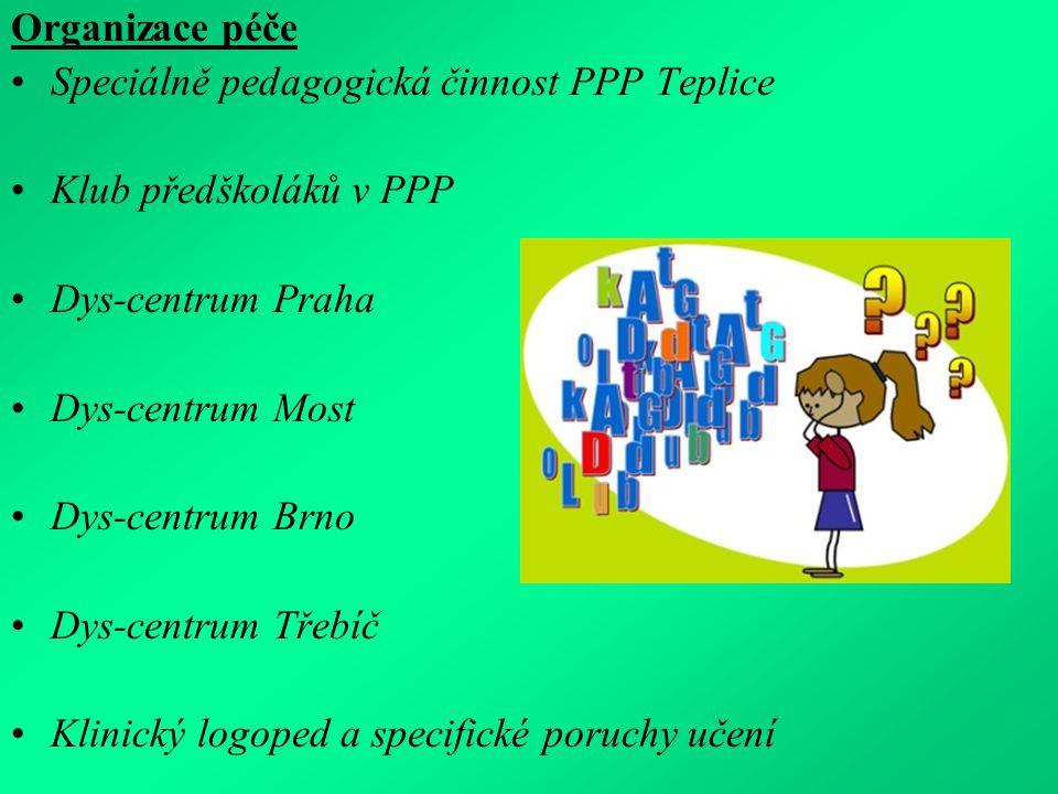 Organizace péče Speciálně pedagogická činnost PPP Teplice. Klub předškoláků v PPP. Dys-centrum Praha.