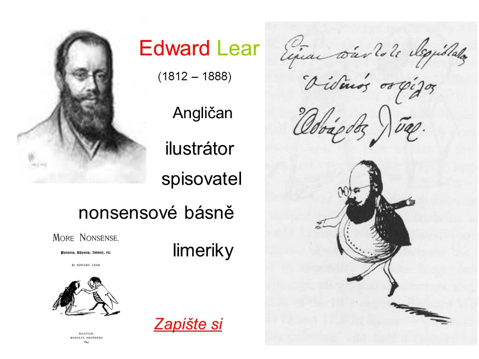 Edward Lear ilustrátor spisovatel nonsensové básně limeriky Angličan