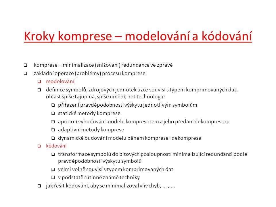 Kroky komprese – modelování a kódování