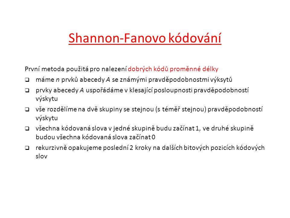 Shannon-Fanovo kódování