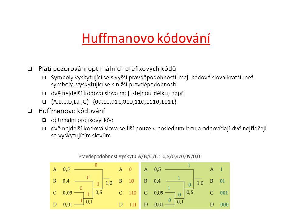 Huffmanovo kódování Platí pozorování optimálních prefixových kódů