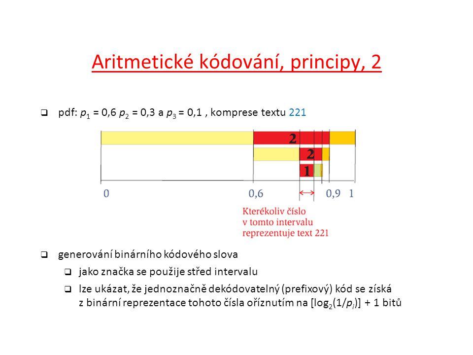 Aritmetické kódování, principy, 2