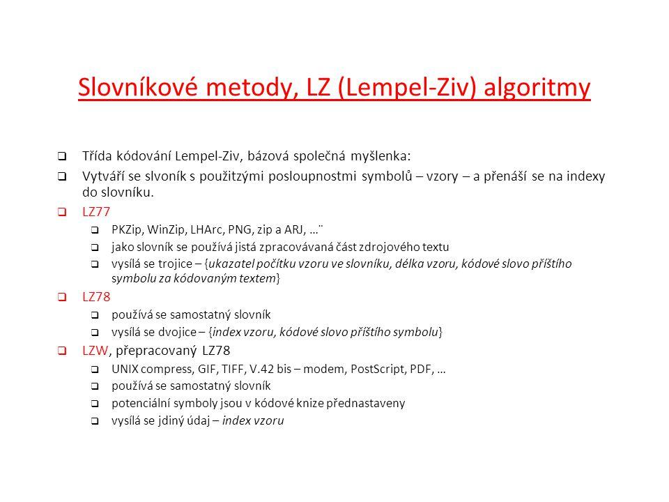 Slovníkové metody, LZ (Lempel-Ziv) algoritmy