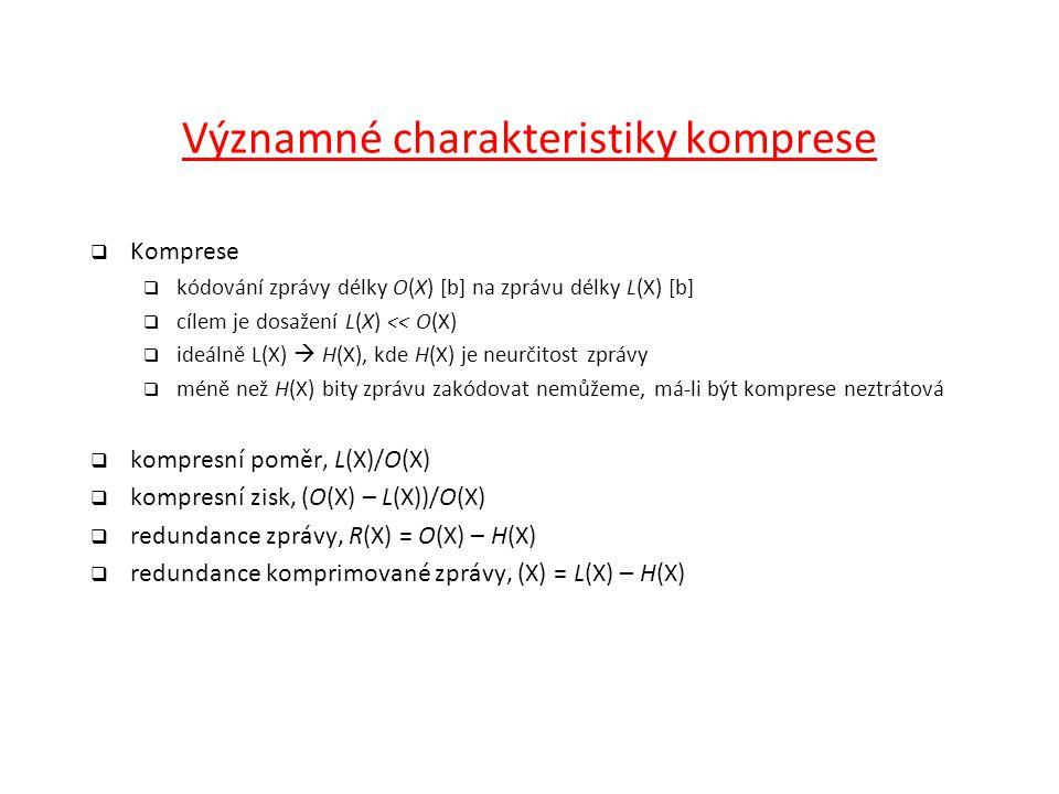 Významné charakteristiky komprese
