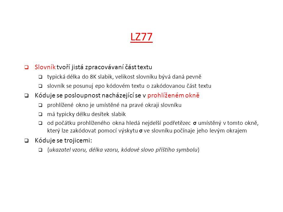 LZ77 Slovník tvoří jistá zpracovávaní část textu
