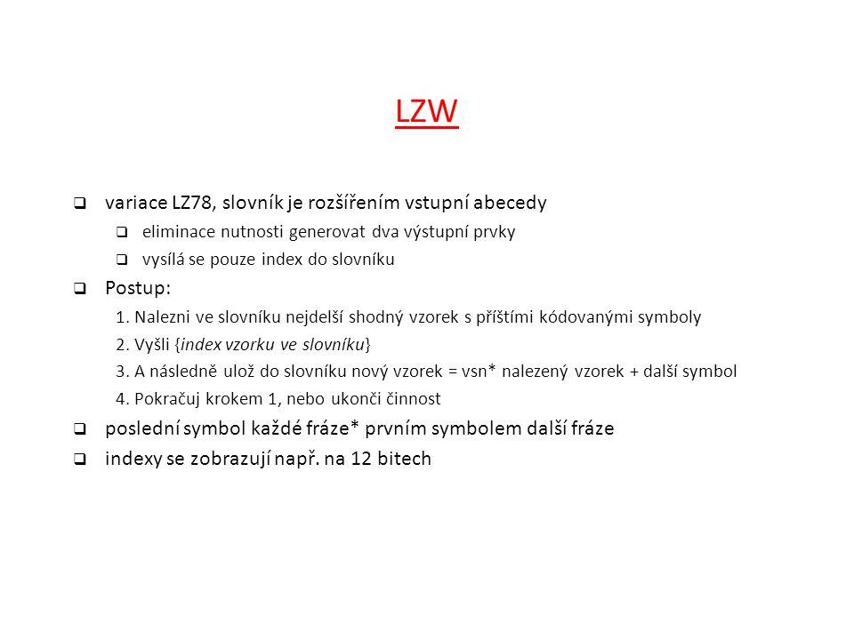 LZW variace LZ78, slovník je rozšířením vstupní abecedy Postup: