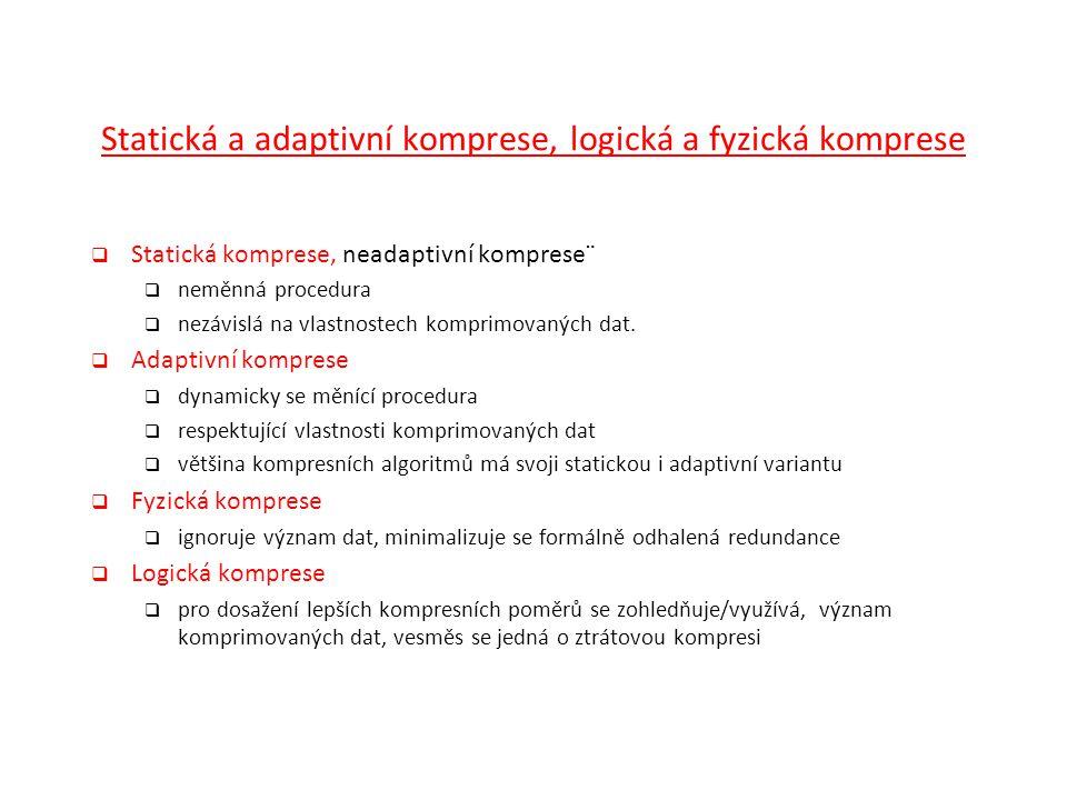 Statická a adaptivní komprese, logická a fyzická komprese