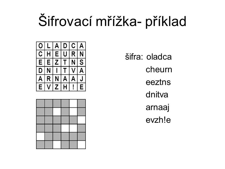 Šifrovací mřížka- příklad