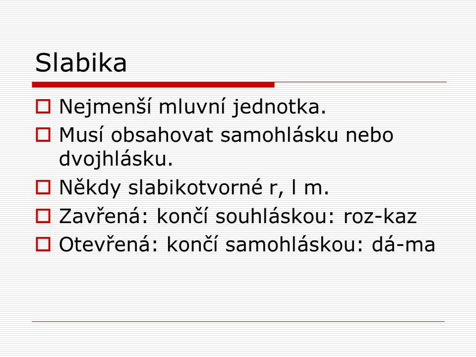 Slabika Nejmenší mluvní jednotka.
