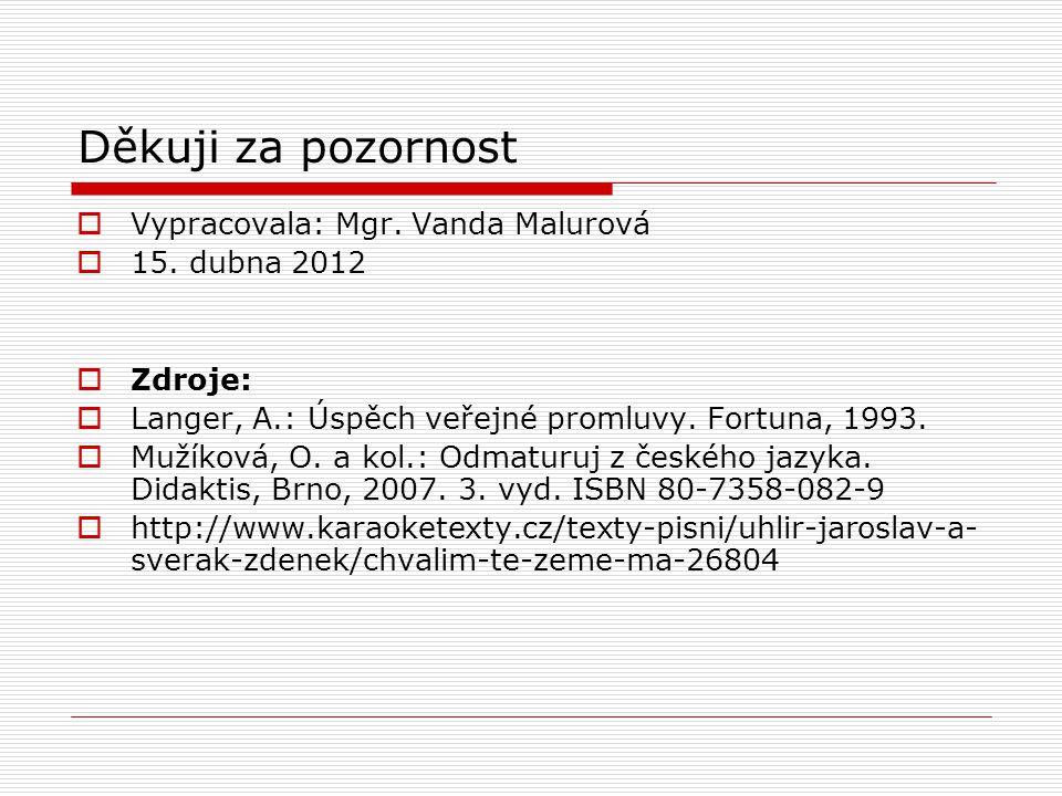 Děkuji za pozornost Vypracovala: Mgr. Vanda Malurová 15. dubna 2012