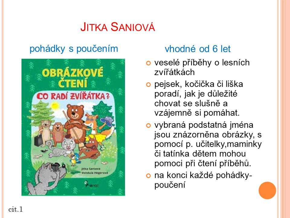 Jitka Saniová pohádky s poučením vhodné od 6 let
