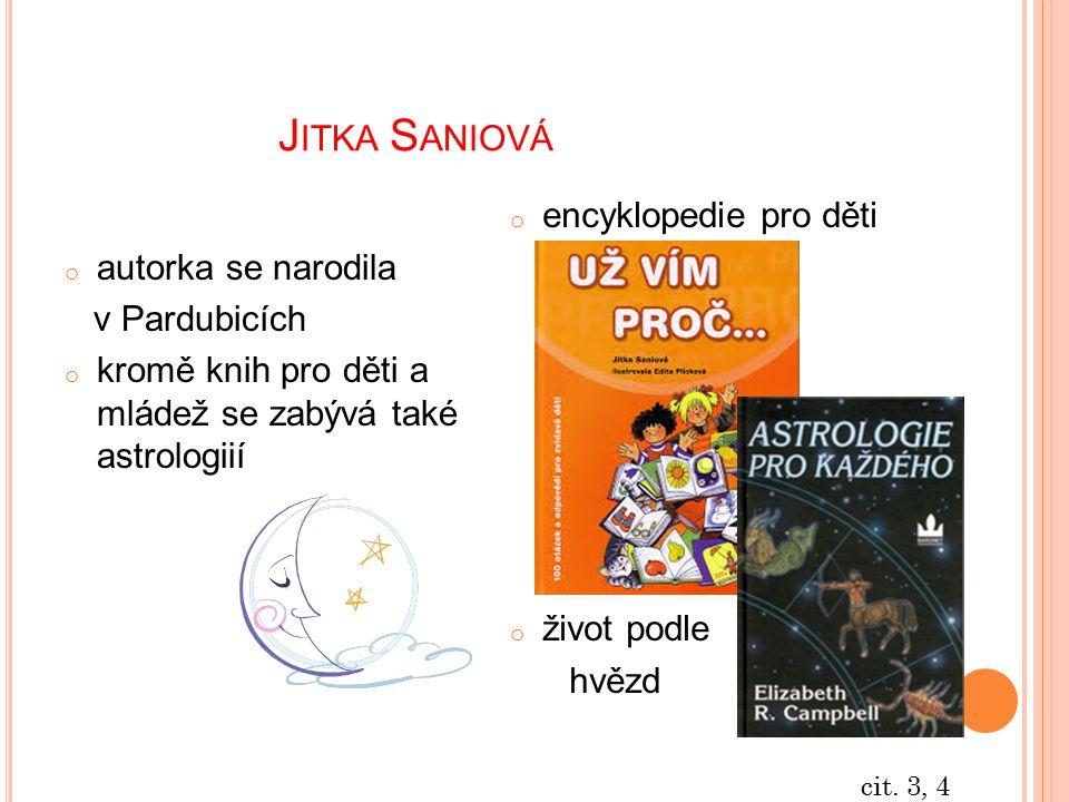Jitka Saniová encyklopedie pro děti autorka se narodila v Pardubicích