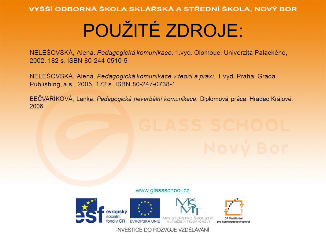 POUŽITÉ ZDROJE: NELEŠOVSKÁ, Alena. Pedagogická komunikace. 1.vyd. Olomouc: Univerzita Palackého, 2002. 182 s. ISBN 80-244-0510-5.