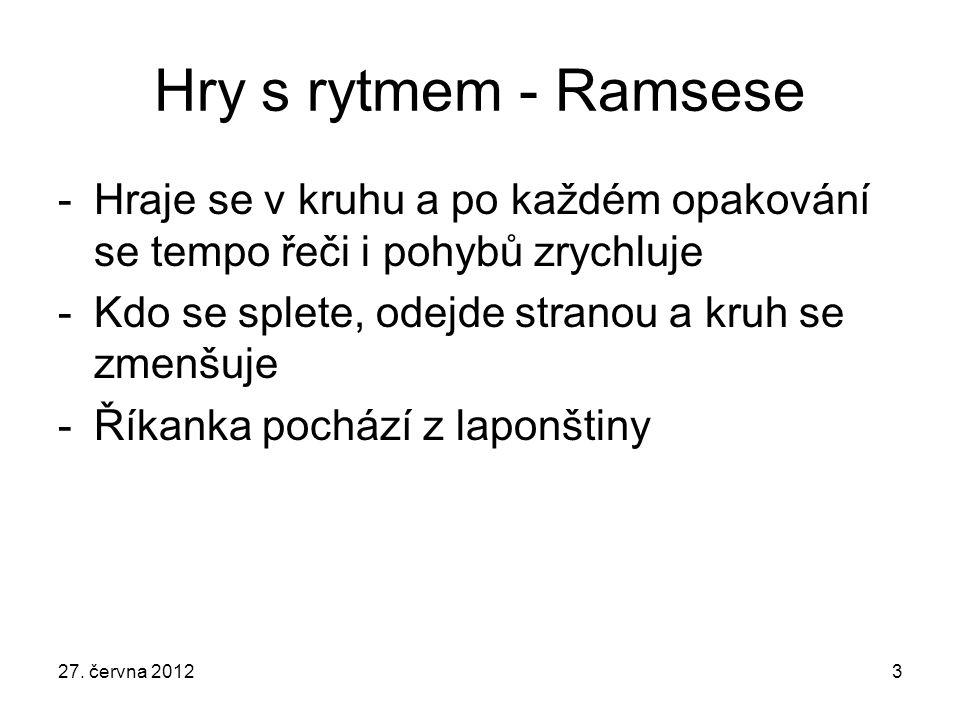 Hry s rytmem - Ramsese Hraje se v kruhu a po každém opakování se tempo řeči i pohybů zrychluje. Kdo se splete, odejde stranou a kruh se zmenšuje.