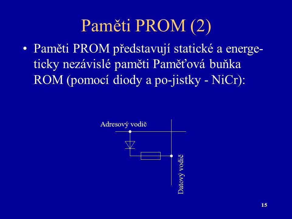 Paměti PROM (2) Paměti PROM představují statické a energe-ticky nezávislé paměti Paměťová buňka ROM (pomocí diody a po-jistky - NiCr):