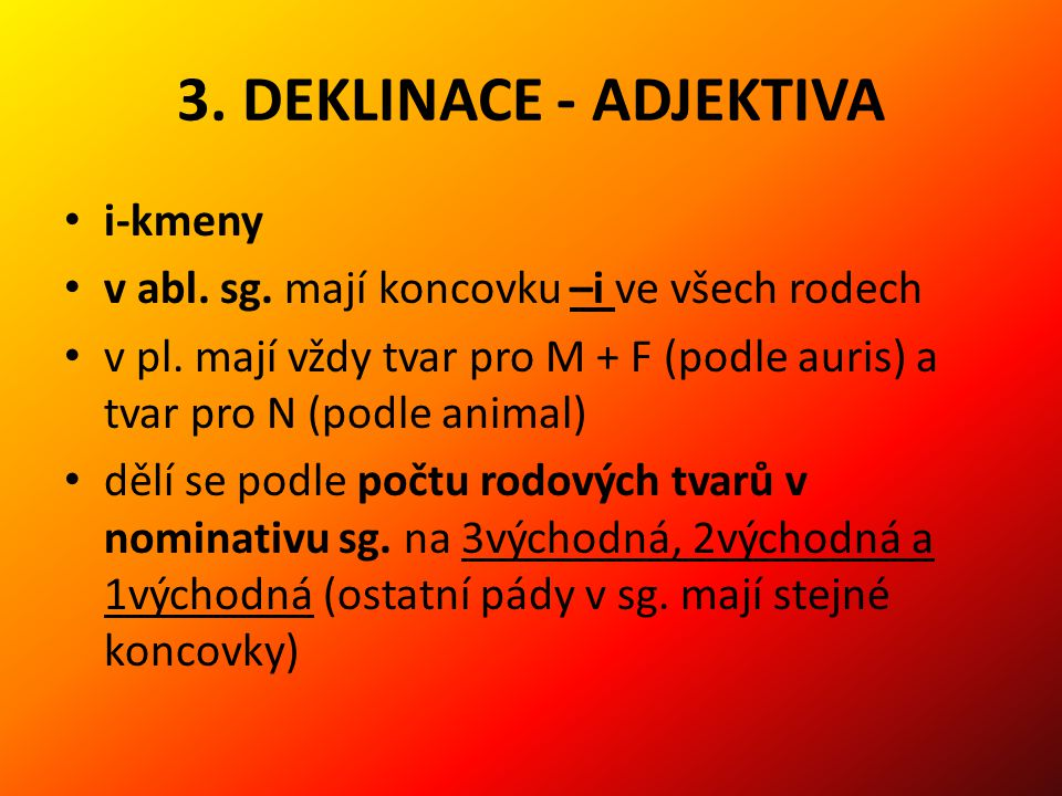 3. DEKLINACE - ADJEKTIVA i-kmeny